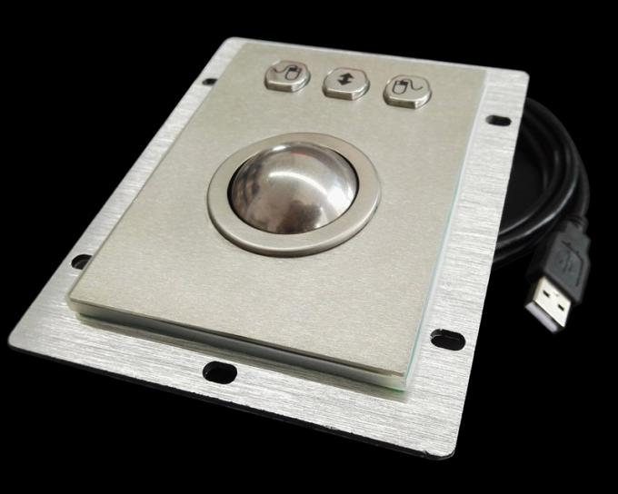 Panel Mounted Stainless Steel Kiosk Trackball Diameter 38mm Ball Optical Encoders