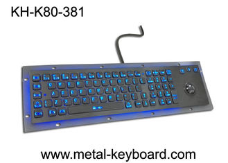 China Rugged Vandal resistant Backlit Metal keyboard with track ball , USB interface and 80 keys supplier