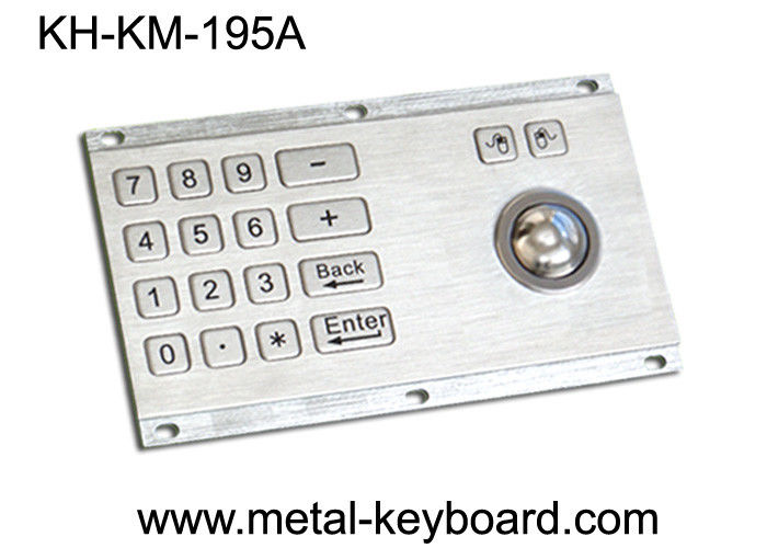 Metallic Anti - vandal Kiosk Digital Keyboard with Integrated Trackball IP65 Rate