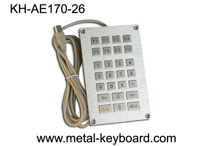 USB Self - service Terminal Metal Kiosk Keyboard 26 Keys , Flat key Keyboard