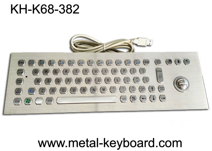 67 Keys Industrial Ss Metal Computer Keyboard With 25mm Laser Trackball Mouse And Buttons