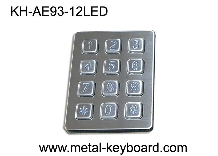 Self - service Kiosk Digital Metal keypad Vandal Proof 12 Keys