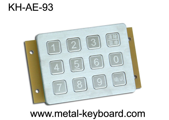 Vandal Proof Keypad Stainless Steel Metal Keypad 12 button in 3x4