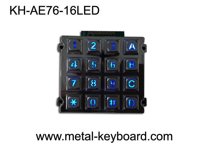 Rugged Numeric Keypad , Metal Kiosk Keyboard with 16 Keys Backlit Dot Matrix