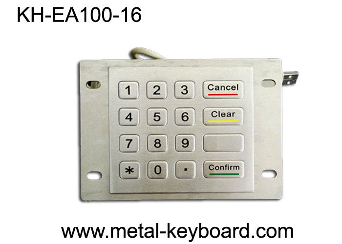 USB Port Industrial SS Metal Keypad / stainless steel keypad 16 Flat Key