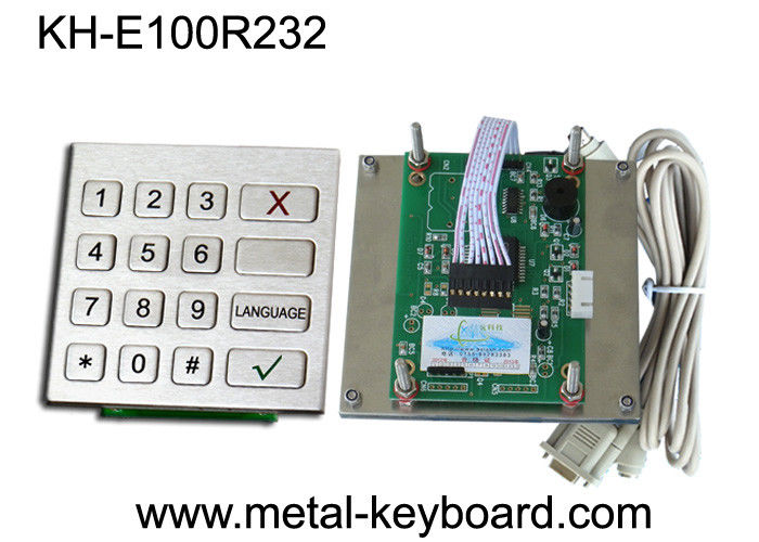 Vandal Proof Kiosk / ATM Checking Devices Metal Numeric Keypad Outdoor , 16 Function Keys