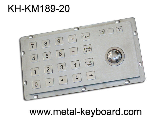 Rugged Kiosk Entry Keypad With Trackball , 24 Keys Stainless Steel Keypad