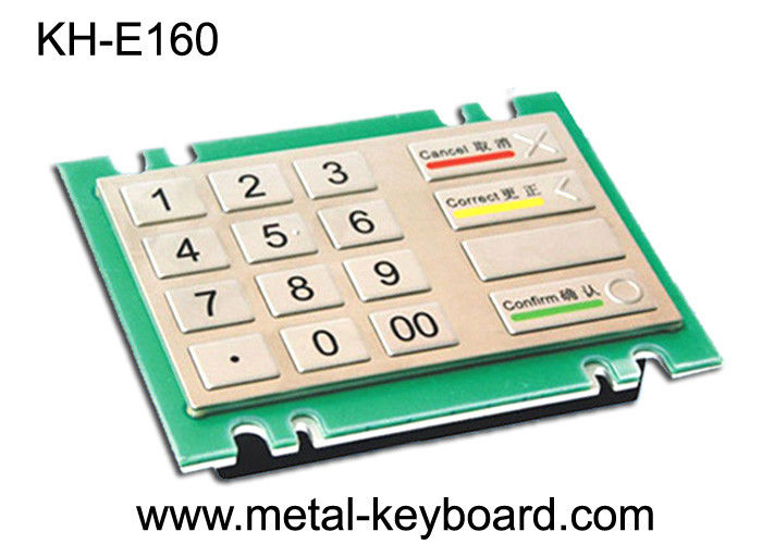 4x4 16 Keys Metal Keypad , Rugged stainless steel panel mount ATM