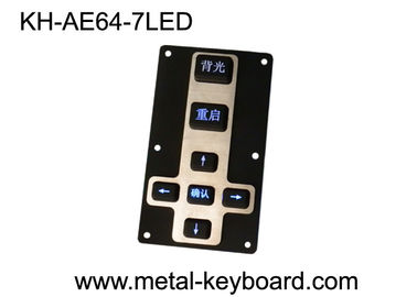 China Backlit Waterproof Silicon Rubber 7 Keys Metal Kiosk Keyboard / Keypad with Metal Panel mount factory