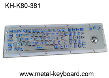 China LED 80 keys Backlit dust proof keyboard with Trackball mouse , metal keyboard for dark conditions factory