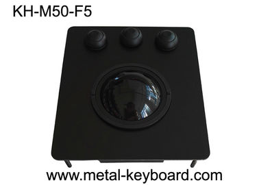 USB Port Black Metal Panel Industrial Trackball Mouse with 50MM Resin Ball